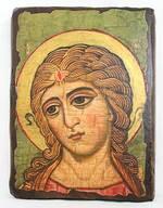 Ангел златовласый, икона под старину, сургуч (13 Х 17)
