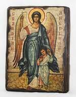Ангел с детьми, икона под старину, сургуч (13 Х 17)