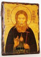 Антоний Радонежский, икона под старину, сургуч (13 Х 17)