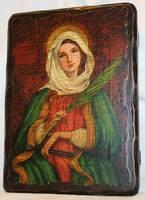 Аполлония Александрийская, икона под старину, сургуч(13 Х 17)