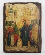 Благословление детей, икона под старину, сургуч (17 Х 23)