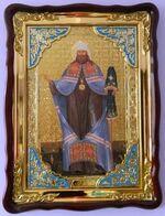 Вениамин Петроградский (рост), в фигурном киоте, с багетом. Храмовая икона (60 Х 80)