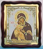 Владимирская Б.М.(4), в фигурном киоте, с багетом. Большая аналойная икона (28 Х 32)
