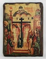 Воздвижение Креста Господня, икона под старину, сургуч (13 Х 17)