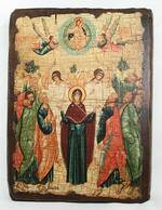 Вознесение Господне, икона под старину, сургуч (17 Х 23)