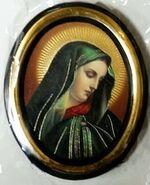 Дева Мария. Икона настольная малая, зол. кант, овал. (50 Х 65)