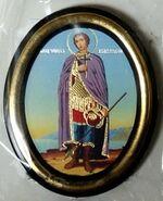 Дмитрий Солунский. Икона настольная малая, зол. кант, овал. (50 Х 65)