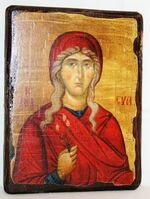 Ева,Св.ВлМч.(пояс), икона под старину, сургуч (13 Х 17)
