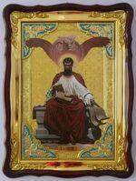 Евангелист Лука, в фигурном киоте, с багетом. Храмовая икона (60 Х 80)