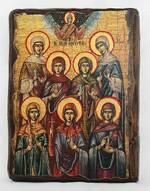 Жены-мироносицы, икона под старину, сургуч (17 Х 23)