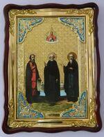 Зосима, Совватий, Герман, в фигурном киоте, с багетом. Храмовая икона (60 Х 80)