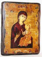 Иверская Б.М. с предстоящими, икона под старину, сургуч (13 Х 17)