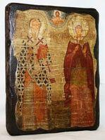 Киприан и Устинья, икона под старину, сургуч (13 Х 17)