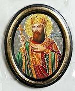 Константин. Икона настольная малая, зол. кант, овал. (50 Х 65)
