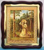 Моление Серафима Саровского на камне, в фигурном киоте, с багетом. Большая аналойная икона (28 Х 32)
