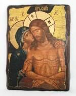 Не рыдай Мене, Мати, икона под старину, сургуч (13 Х 17)