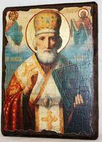 Николай Чудотворец (в митре, с предст.), икона под старину, сургуч (17 Х 23)