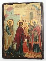 Обрезание Господне, икона под старину, сургуч (13 Х 17)