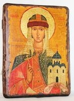 Ольга, Св.Княгиня, икона под старину, сургуч (13 Х 17)