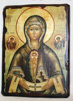 Помошница в родах Б.М., икона под старину, сургуч (13 Х 17)