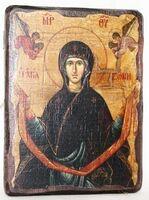 Пояс Пр.Богородицы, икона под старину, сургуч (13 Х 17)