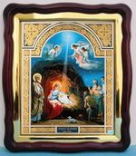 Рождество Христово (10), в фигурном киоте, с багетом. Храмовая икона (43 Х 50)