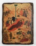 Рождество Христово, икона под старину, сургуч (17 Х 23)