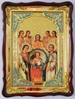 Собор Арх. Михаила, в фигурном киоте, с багетом. Храмовая икона (60 Х 80)