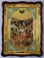 Собор всех святых, в земле Российской просиявших, в фигурном киоте, с багетом. Храмовая икона (60 Х 80)
