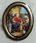 Спаситель с детьми. Икона настольная малая, зол. кант, овал. (50 Х 65)