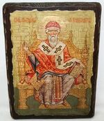 Спиридон Тримифунтский (трон), икона под старину, сургуч (17 Х 23)