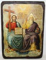 Троица Новозаветная, икона под старину, сургуч (17 Х 23)