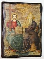 Троица Новозаветная, икона под старину, сургуч (13 Х 17)