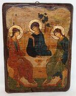 Троица Рублевская, икона под старину, сургуч (17 Х 23)
