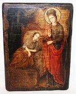 Целительница Б.М., икона под старину, сургуч (17 Х 23)