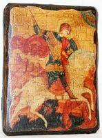 Георгий, убивающий змея, икона под старину, сургуч (13 Х 17)