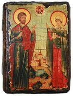 Адриан и Наталья, икона под старину, сургуч (13 Х 17)