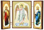 Складень МДФ (1), тройной, Ангел - Хранитель с архангелами, 13 Х 8 см.