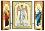 Складень МДФ (14), тройной, Ангел - Хранитель с архангелами, 21 Х 12 см.