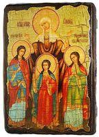 Вера, Надежда, Любовь, и мать их София, икона под старину, сургуч (13 Х 17)