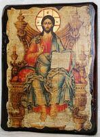 Вседержитель на троне, икона под старину, сургуч (17 Х 23)