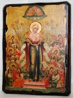 Всех скорбящих радость Б.М., икона под старину, сургуч (13 Х 17)