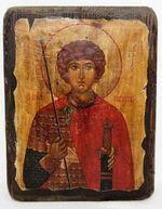 Георгий Победоносец (пояс), икона под старину, сургуч (13 Х 17)