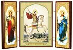 Складень МДФ (32), тройной, Георгий Победоносец с архангелами, 21 Х 12 см.