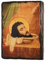 Усекновение главы Иоанна Предтечи, икона под старину, сургуч (13 Х 17)