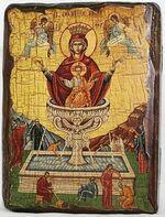 Живоносный источник Б.М., икона под старину, сургуч (13 Х 17)