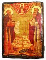 Зосима и Савватий, икона под старину, сургуч (13 Х 17)
