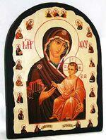 Иверская с предстоящими Б.М., икона синайская, арка, 17 Х 23
