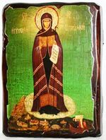 Афонская Б.М.(Игуменья Святой горы), икона под старину, сургуч (13 Х 17)