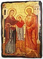 Иоаким и Анна, икона под старину, сургуч (13 Х 17)